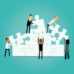 Group of cartoon business people and handling puzzle pieces